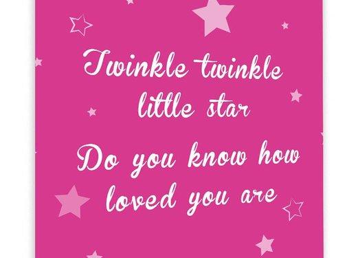 Muurdecoratie: Twinkle Twinkle Little Star - Fuchsia