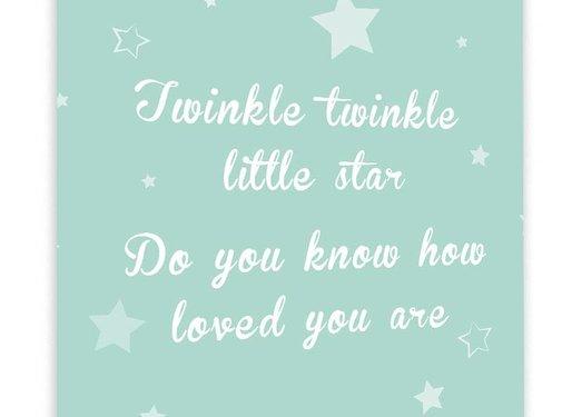 Muurdecoratie: Twinkle Twinkle Little Star mintgroen