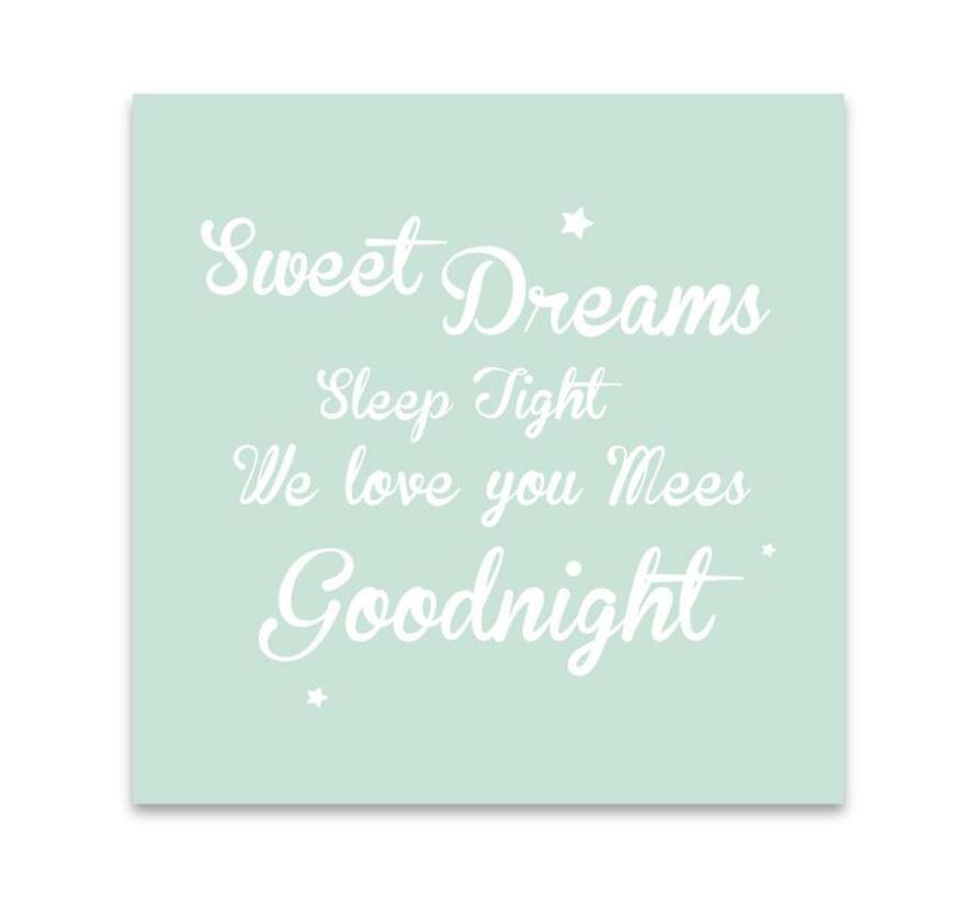 Muurdecoratie: Sweet Dreams mint met naam