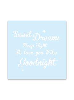 Lievespulletjes Muurdecoratie: Sweet Dreams blauw met naam
