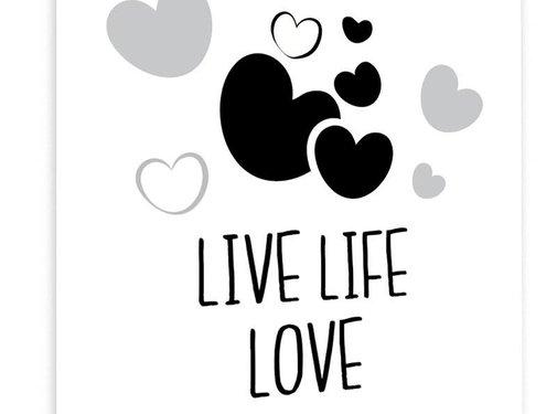 Lievespulletjes Muurdecoratie: Live Life Love zwart wit