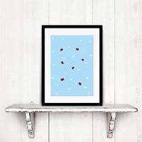 Poster babykamer lieveheersbeestjes nr2