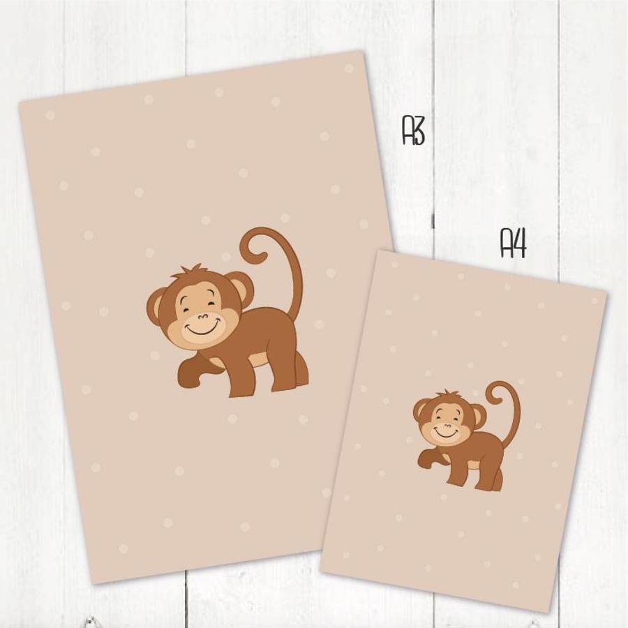 Poster babykamer aapje