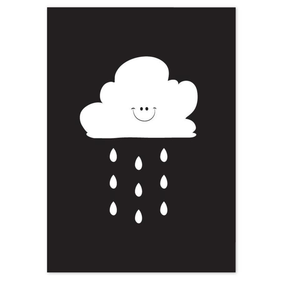 Poster kinderkamer: Lief regenwolkje zwart-1