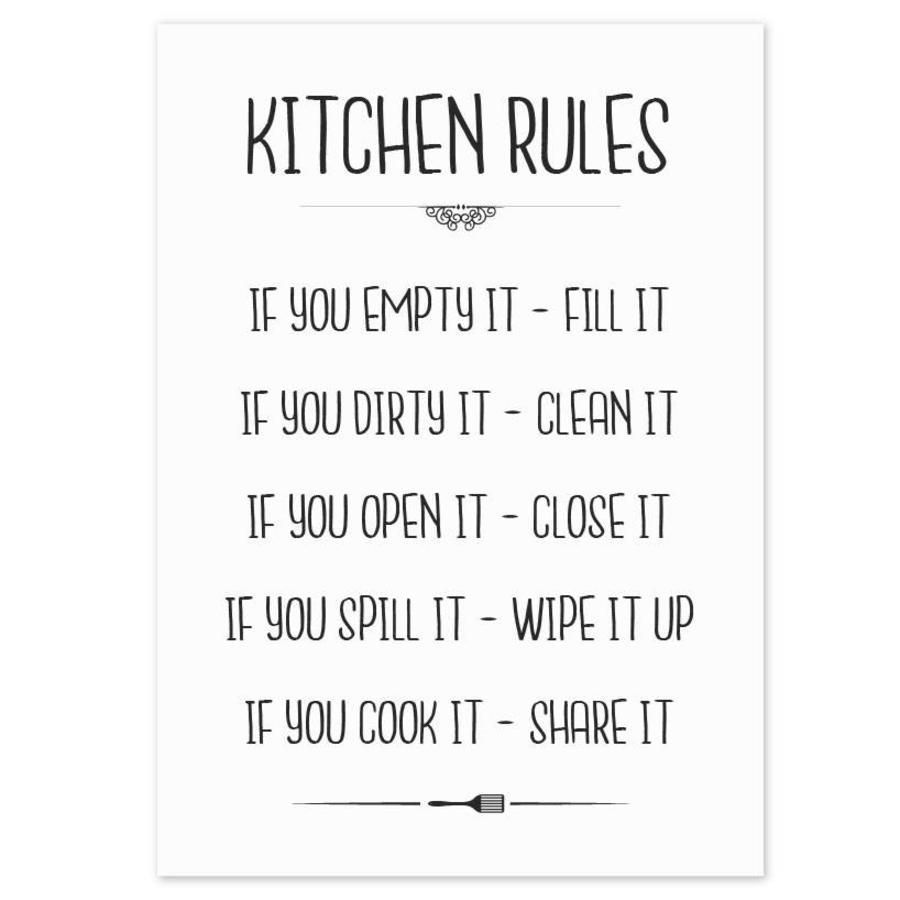Keuken poster Kitchen Rules-1