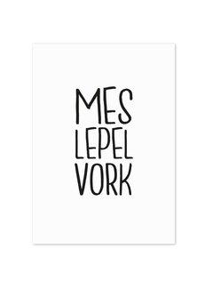 Lievespulletjes Keuken poster Mes Lepel Vork wit