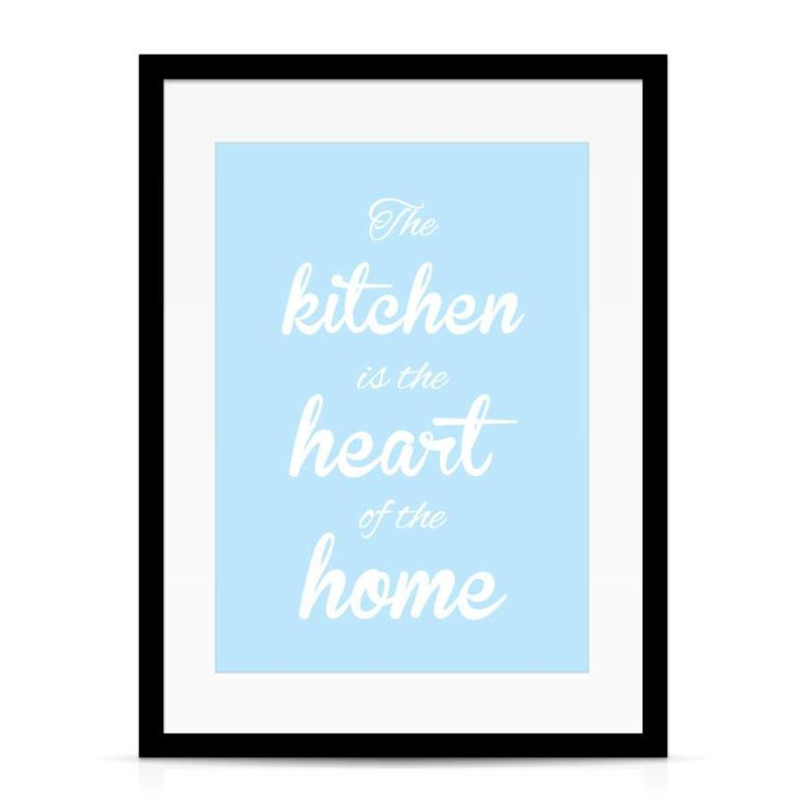 Keuken poster The kitchen  is the heart of the home - blauw-4