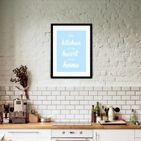 thumb-Keuken poster The kitchen  is the heart of the home - blauw-2