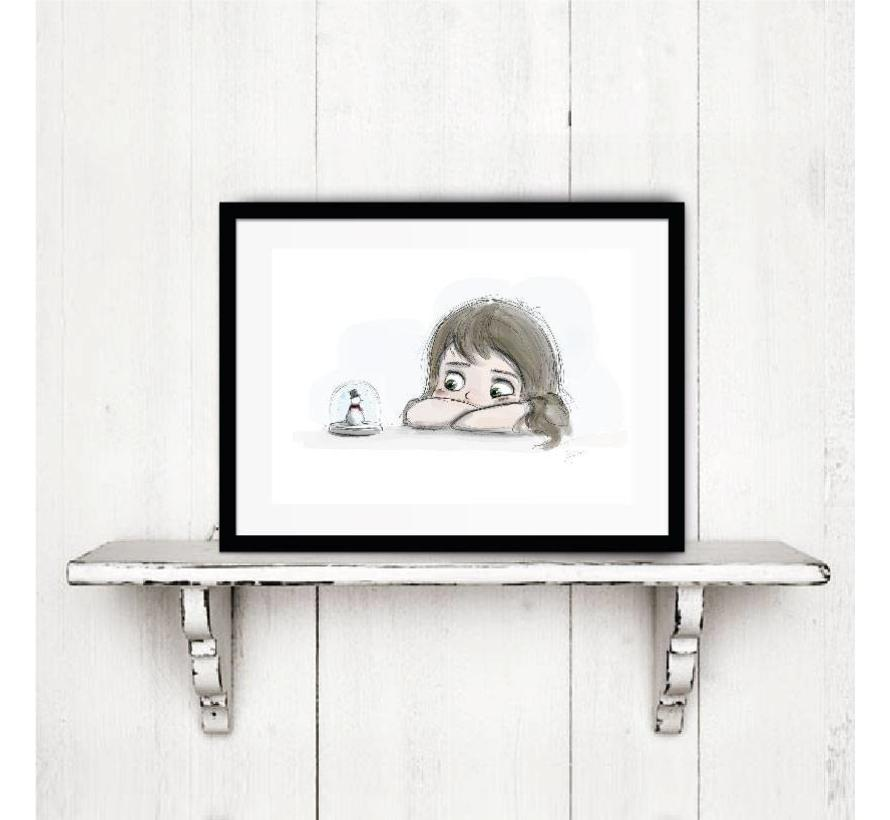 Roy Korpel original: schets dromerig meisje