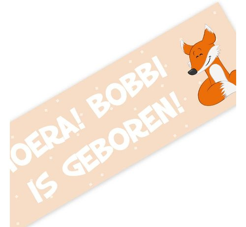 Lievespulletjes Geboortespandoek lief vosje met naam pastel oranje