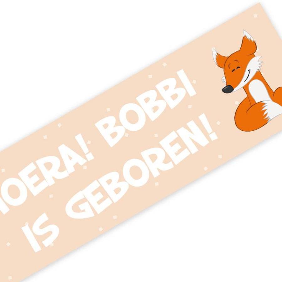 Geboortespandoek lief vosje met naam pastel oranje