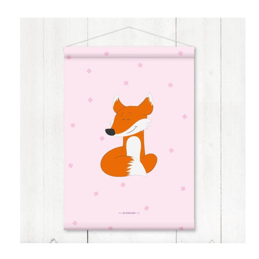 Kinderkamer banner vosje roze-2
