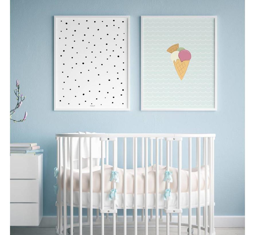 Poster babykamer ijsje mint