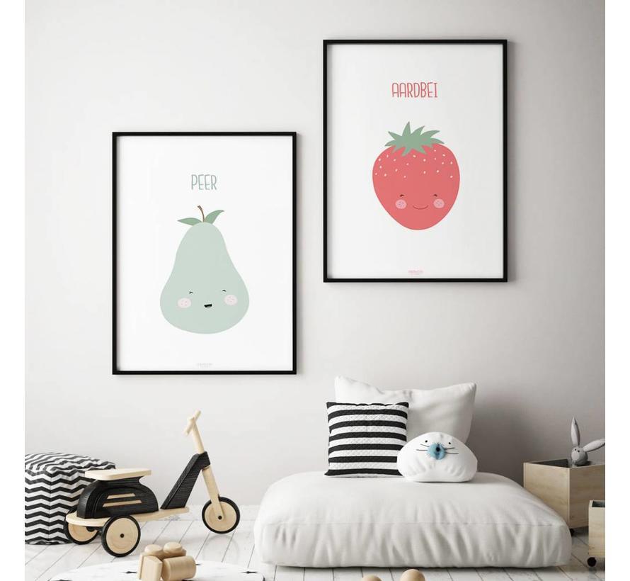 Poster babykamer aardbei - met tekst