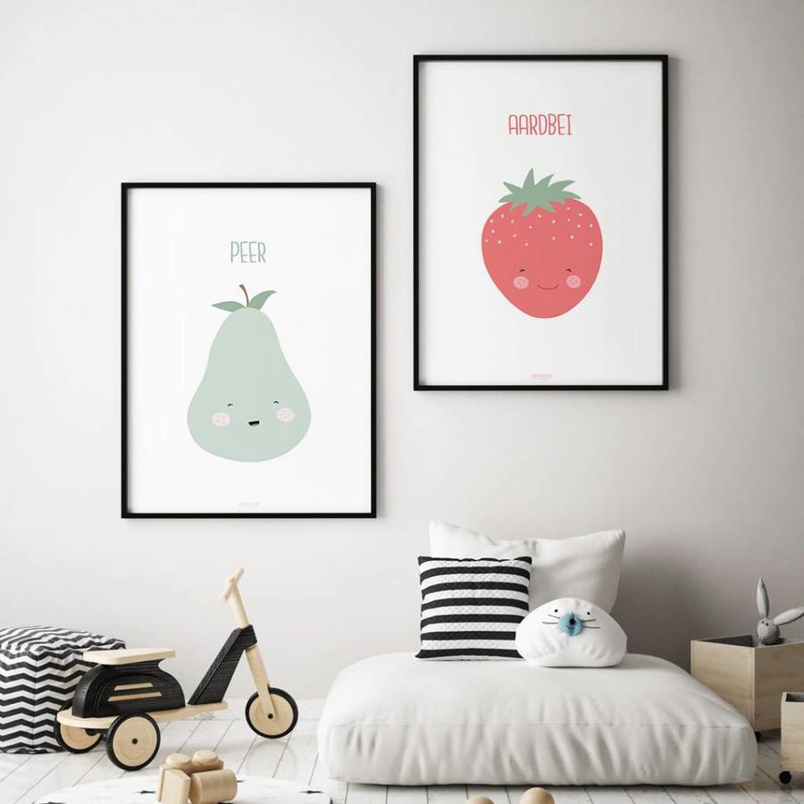 Poster babykamer aardbei - met tekst-3
