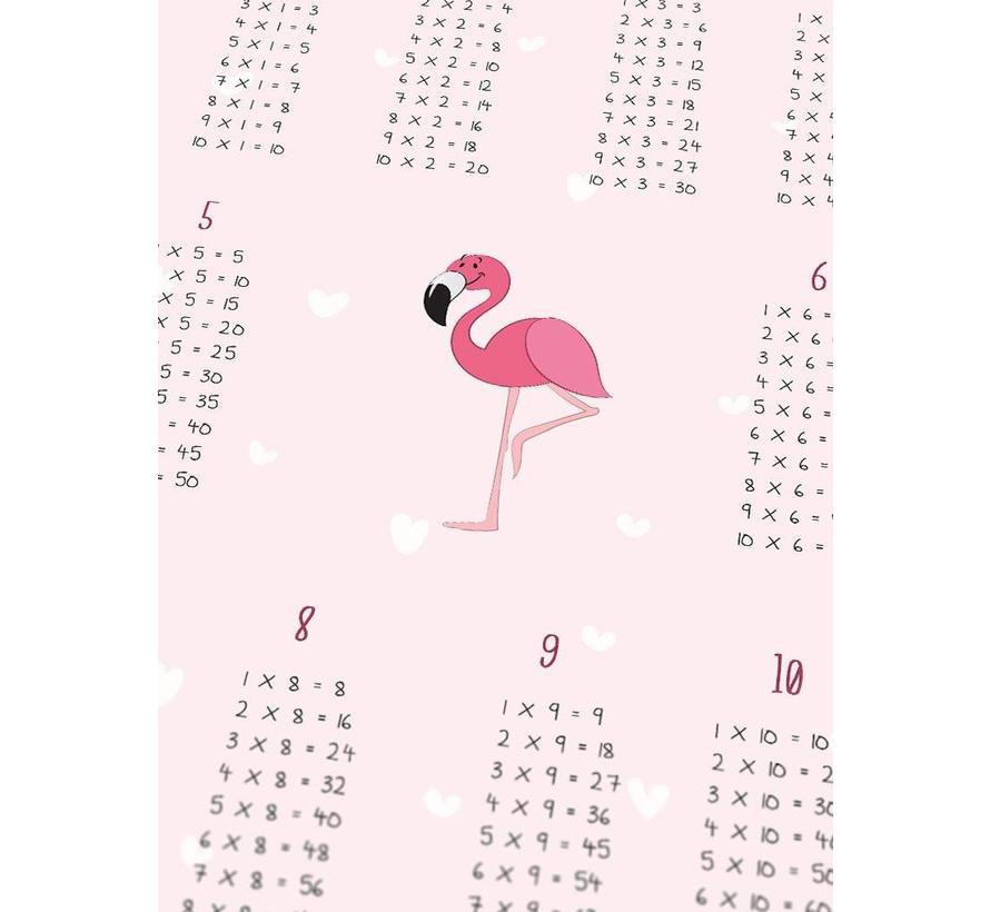 Tafel poster kinderkamer flamingo roze