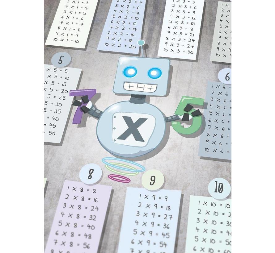 Tafel poster kinderkamer: keersommen robot