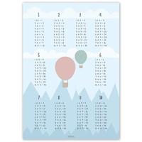 thumb-Tafelsommen poster kinderkamer luchtballon blauw-3