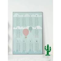 thumb-Rekenen tafel poster kinderkamer luchtballon mint-2