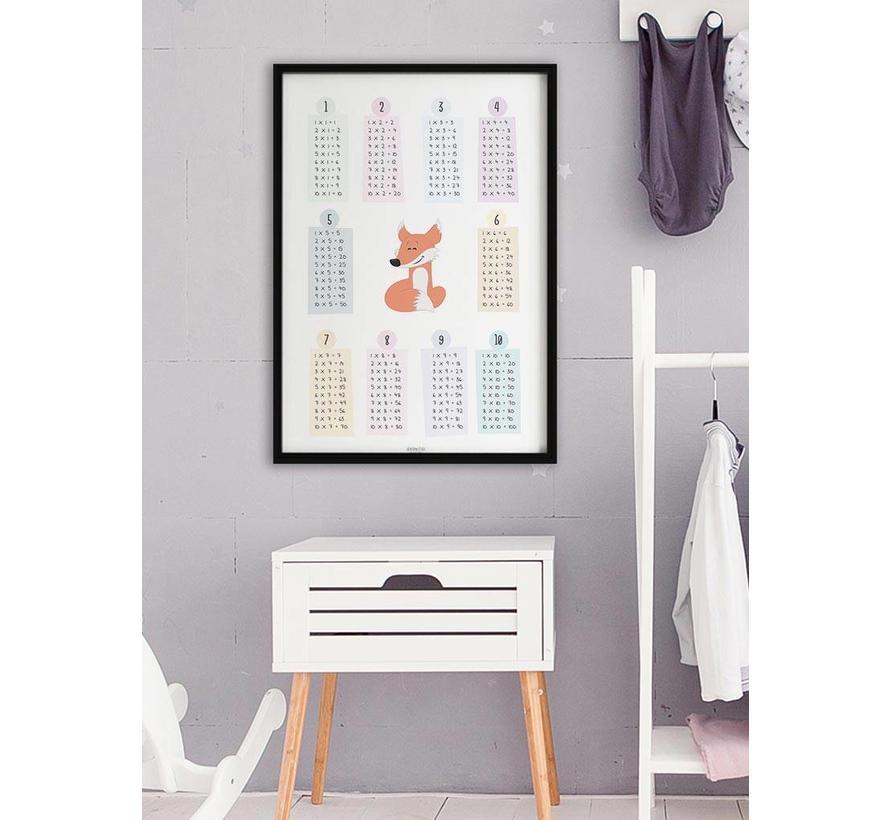 Rekenen tafel poster kinderkamer: lief vosje