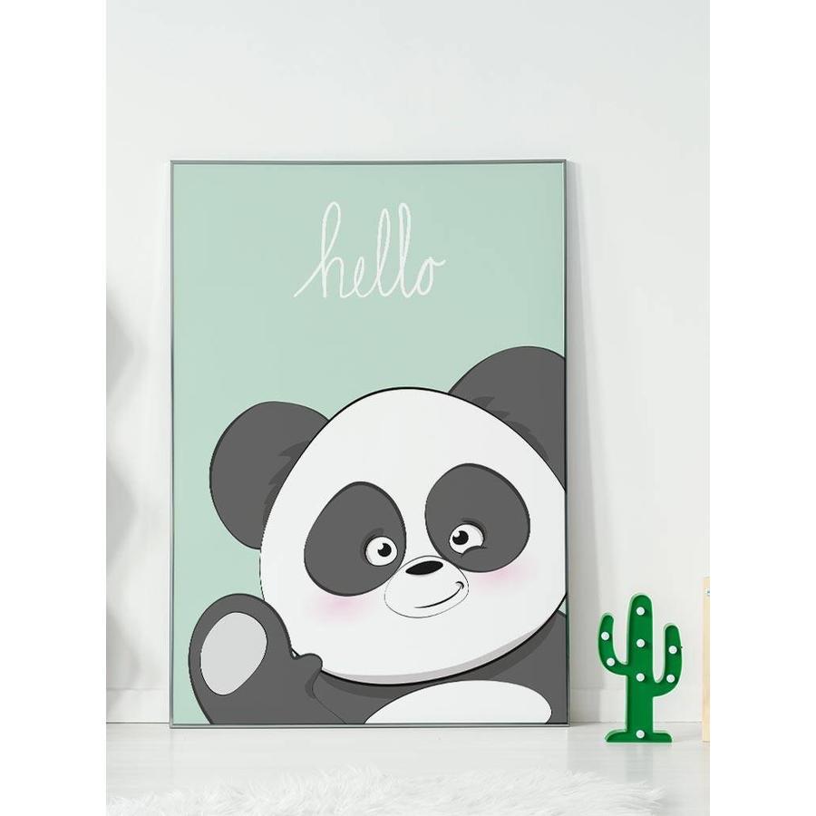 Poster kinderkamer hello Panda mintgroen-2
