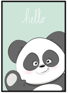 Lievespulletjes Poster hello panda mintgroen