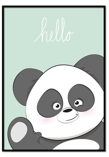 Poster hello panda mintgroen