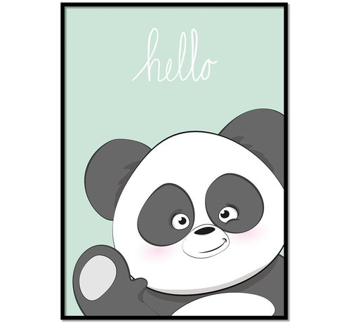 Lievespulletjes Poster kinderkamer hello Panda mintgroen