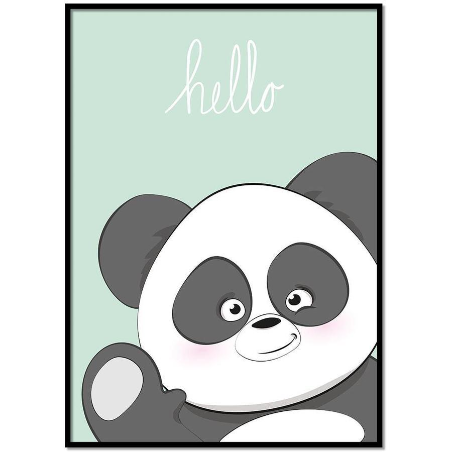 Poster kinderkamer hello Panda mintgroen-1
