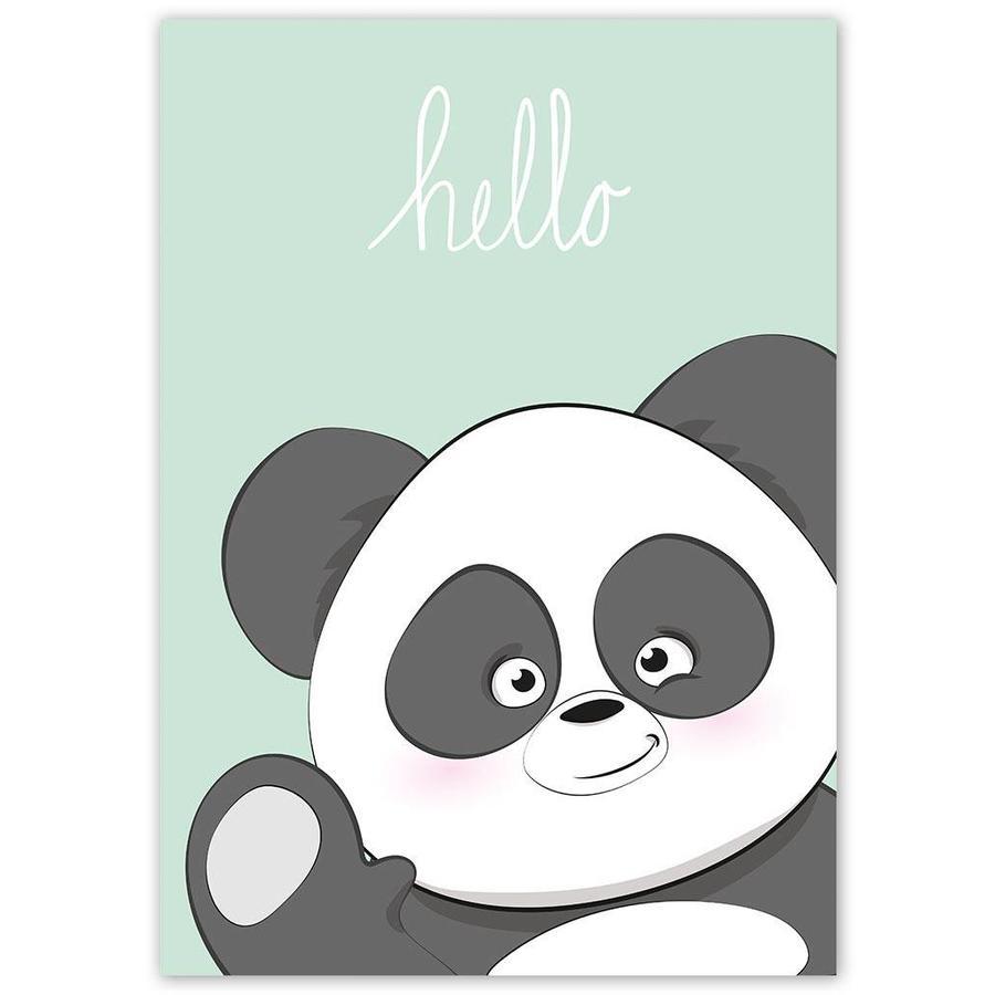 Poster kinderkamer hello Panda mintgroen-4