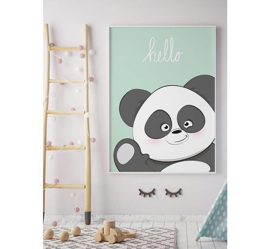 Poster kinderkamer hello Panda mintgroen
