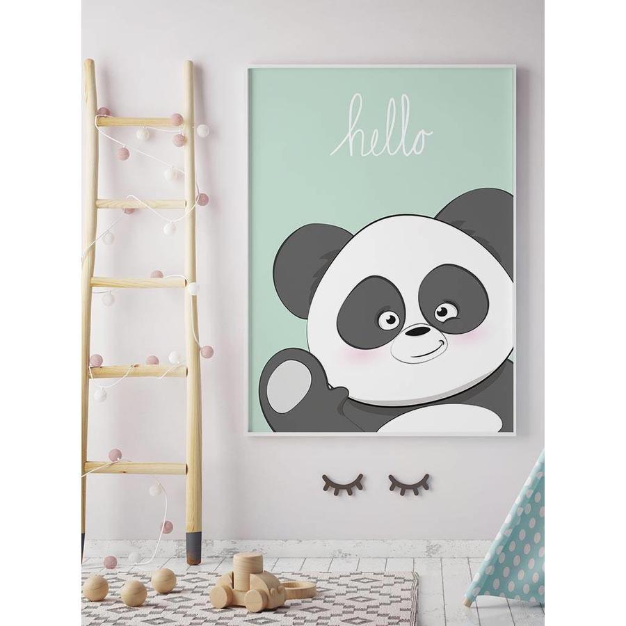 Poster kinderkamer hello Panda mintgroen-5