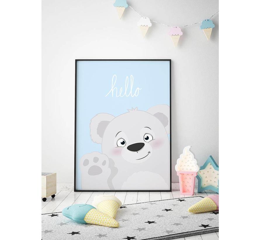 Poster babykamer hello lief beertje blauw