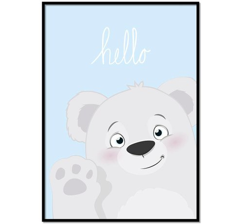Lievespulletjes Poster babykamer hello lief beertje blauw