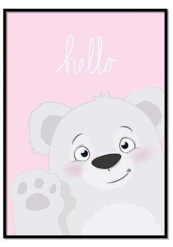 Poster hello beertje roze