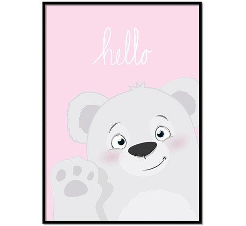Lievespulletjes Poster babykamer hello lief beertje roze