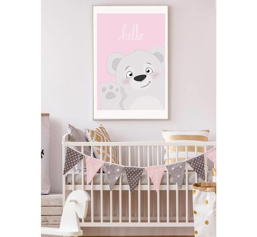 Poster babykamer hello lief beertje roze
