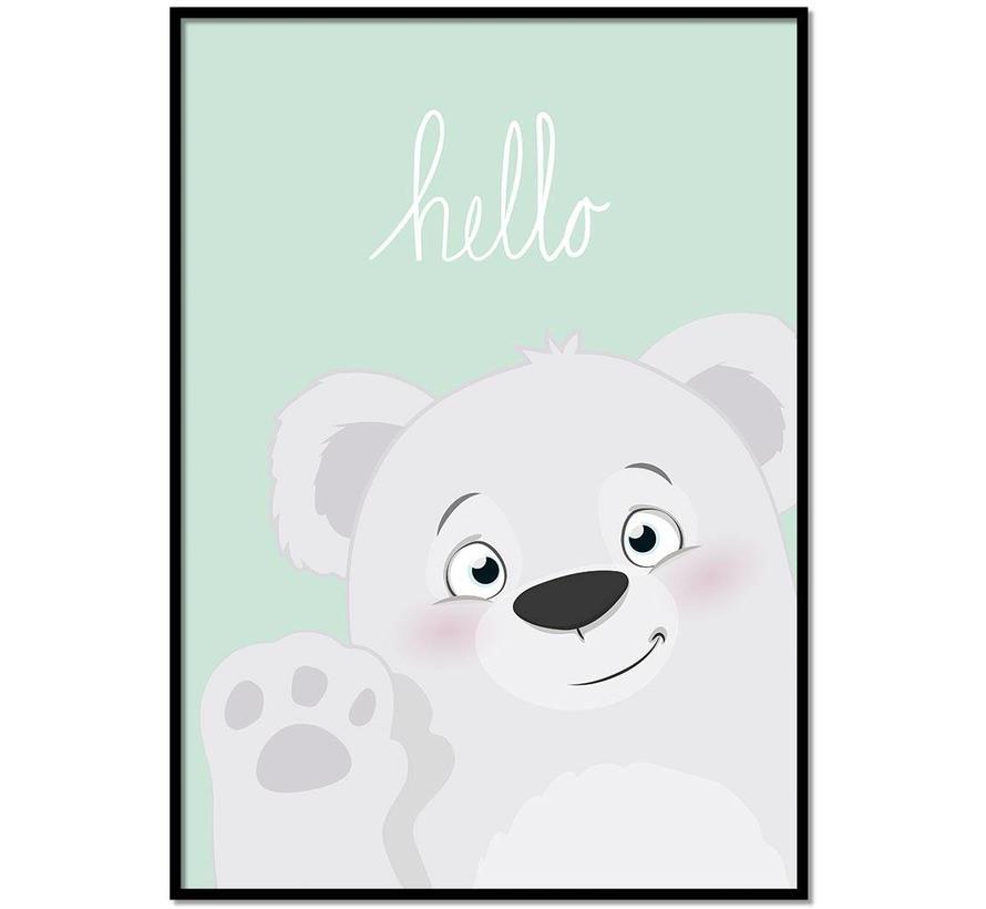 Poster babykamer hello lief beertje mintgroen