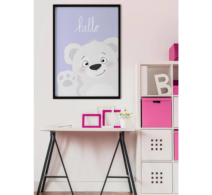 Poster babykamer hello lief beertje Lila