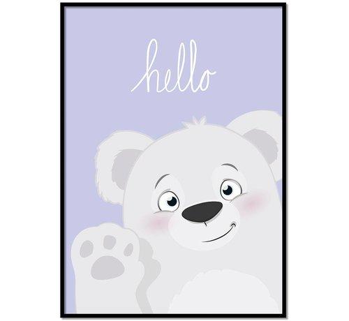 Lievespulletjes Poster babykamer hello lief beertje Lila