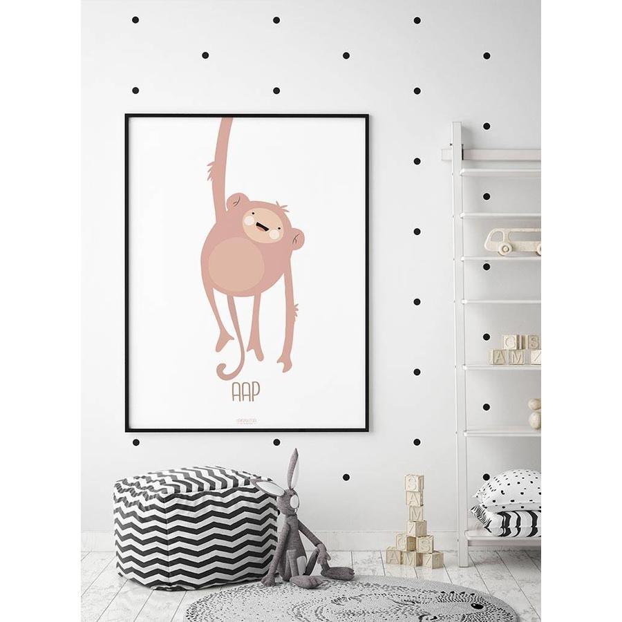 Poster kinderkamer lief aapje - met tekst-2