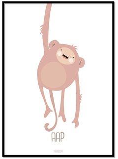 Lievespulletjes Poster ondeugend aapje - met tekst