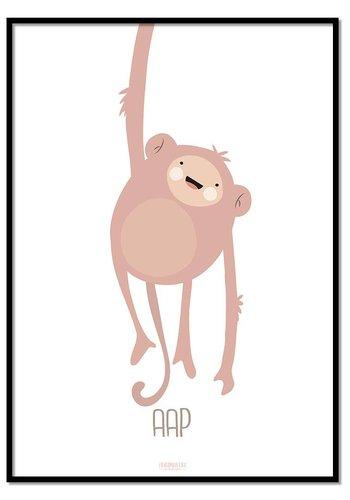 Poster ondeugend aapje - met tekst