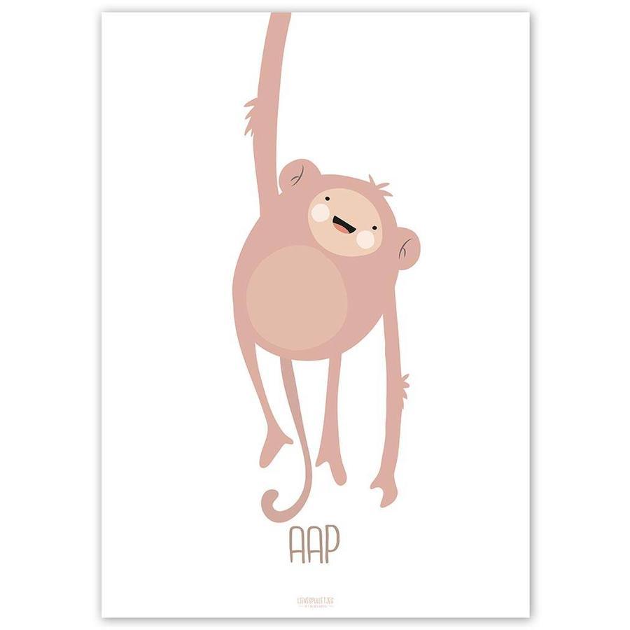 Poster kinderkamer lief aapje - met tekst-3