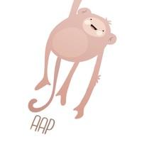 thumb-Poster kinderkamer lief aapje - met tekst-4