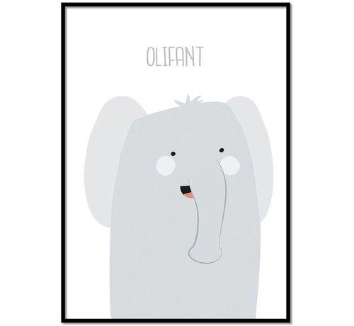 Lievespulletjes Poster babykamer olifantje met tekst
