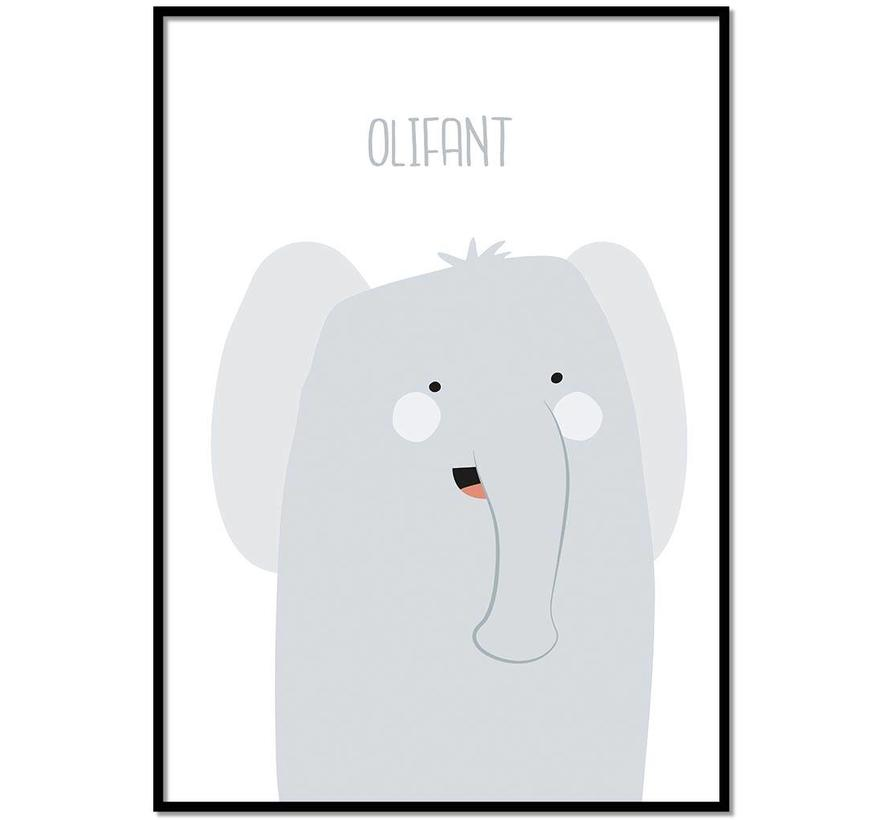 Poster babykamer olifantje met tekst