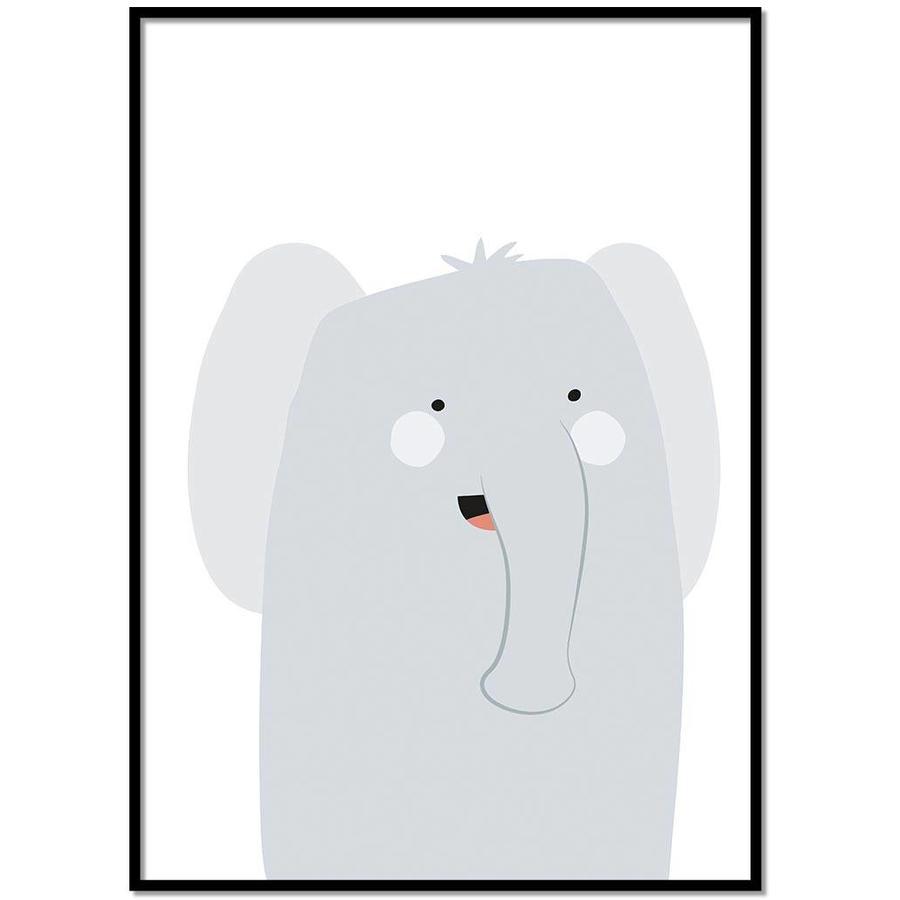 Poster babykamer olifantje-1