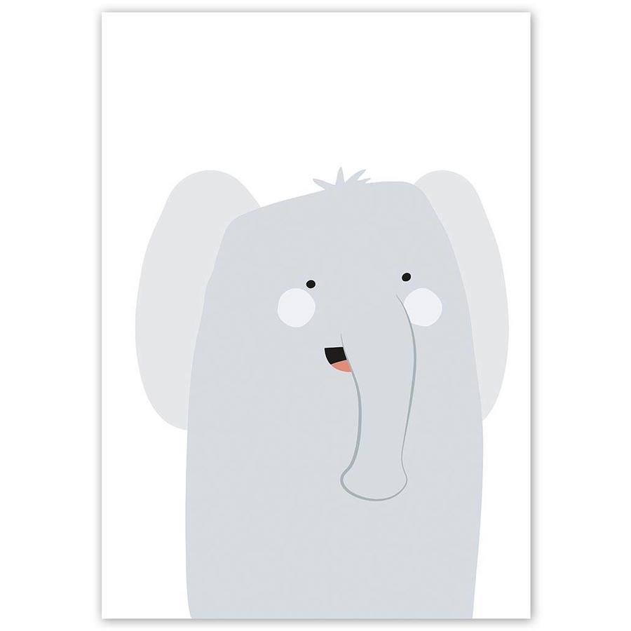 Poster babykamer olifantje-3
