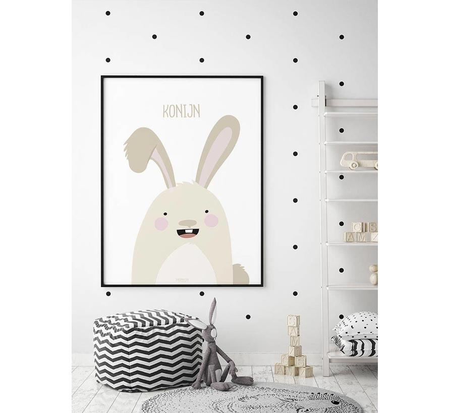 Poster babykamer konijntje met tekst